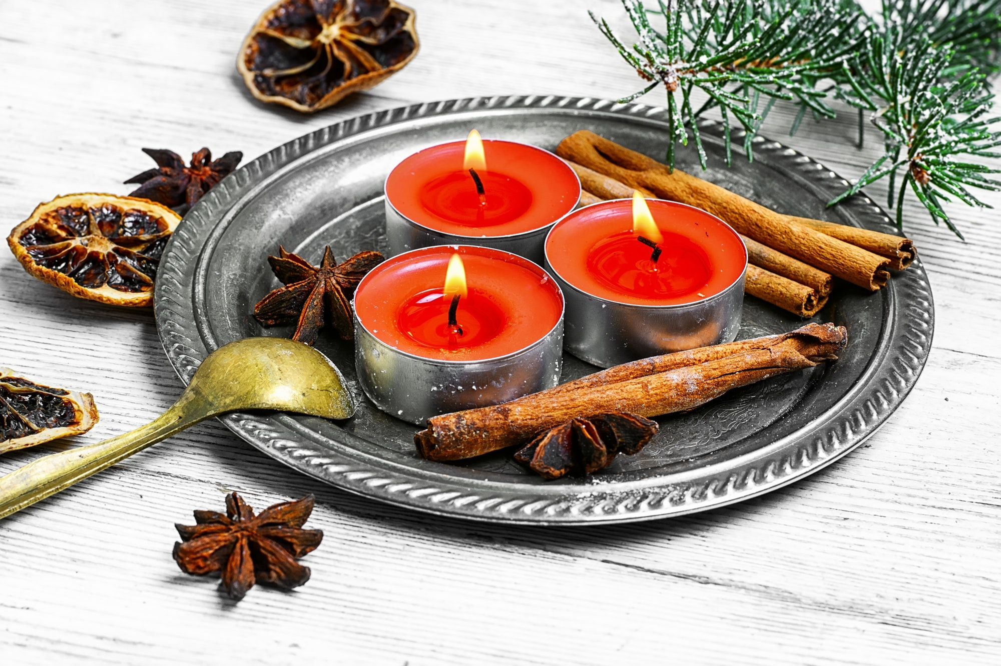 Three Christmas candles
